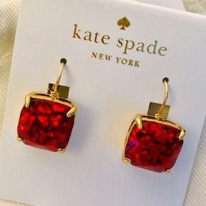 Kate Spade Glitter and Glee Red Leverback Earrings